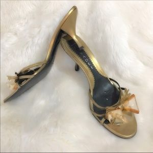 Casadei Bow Heels in Gold